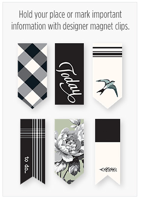 Hold your place or mark important information with designer magnet clips
